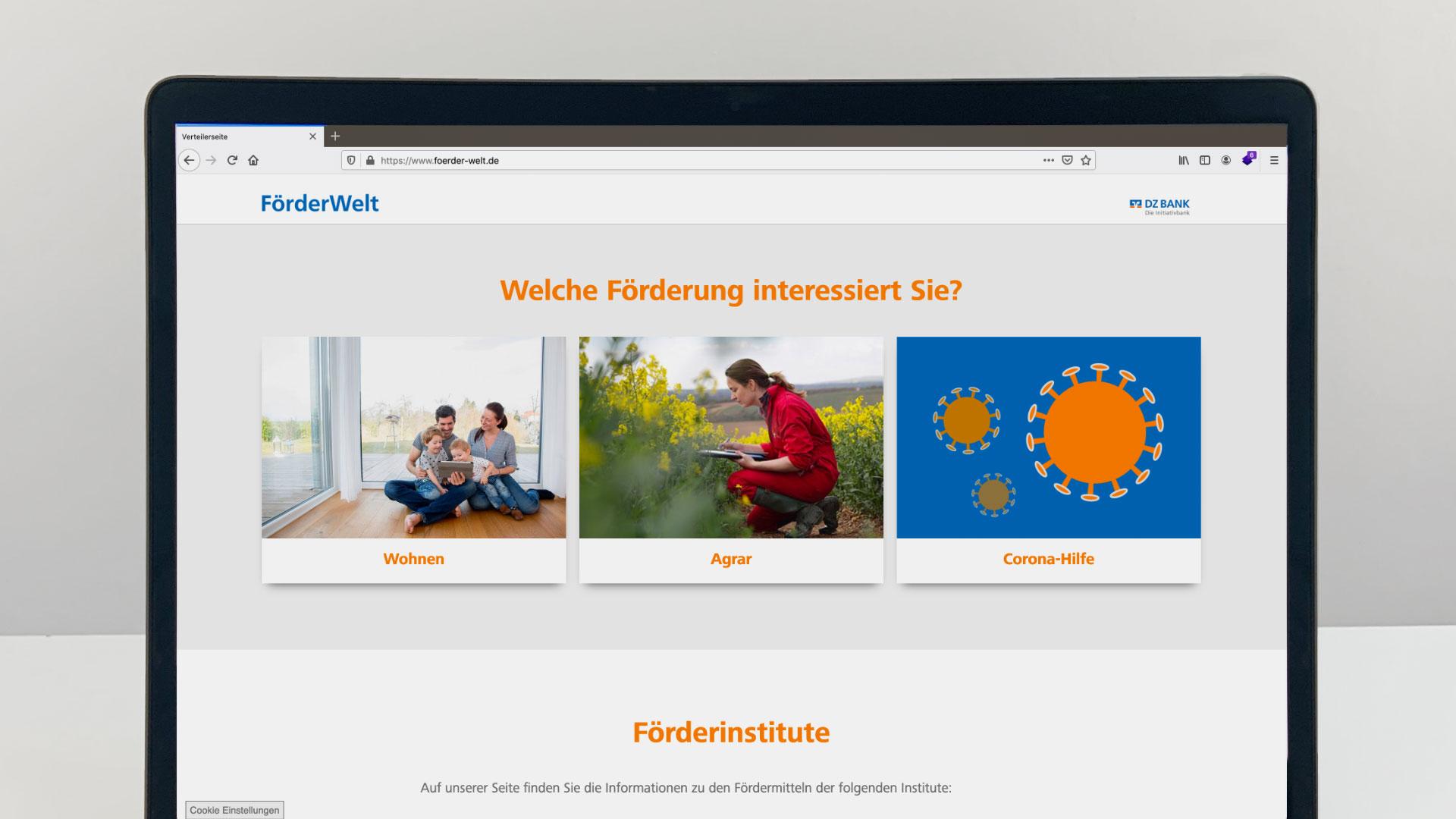Einstieg mit Themenauswahl auf der Webseite der FörderWelt