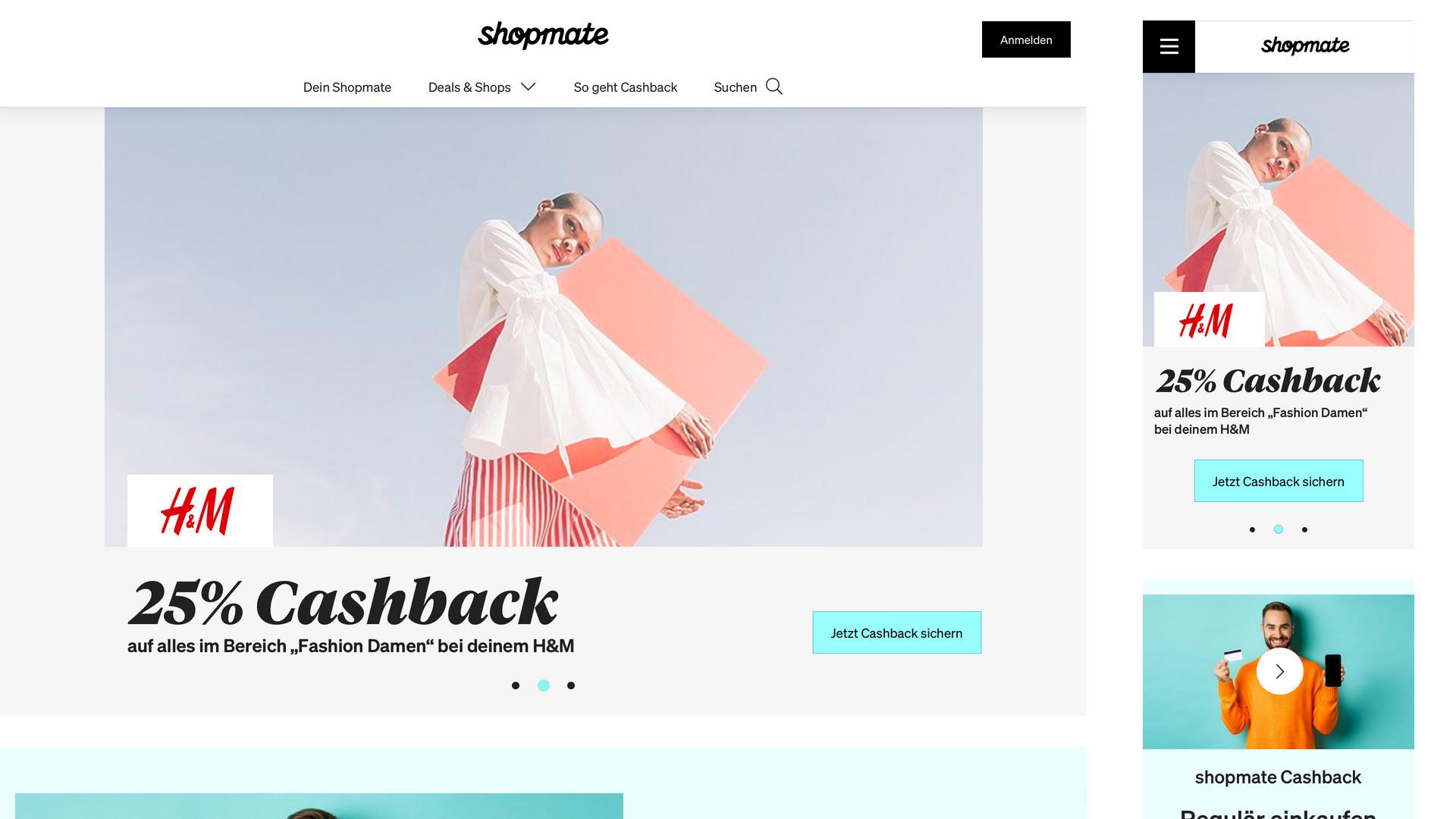 Screenshot des Cashback Portals Shopmate