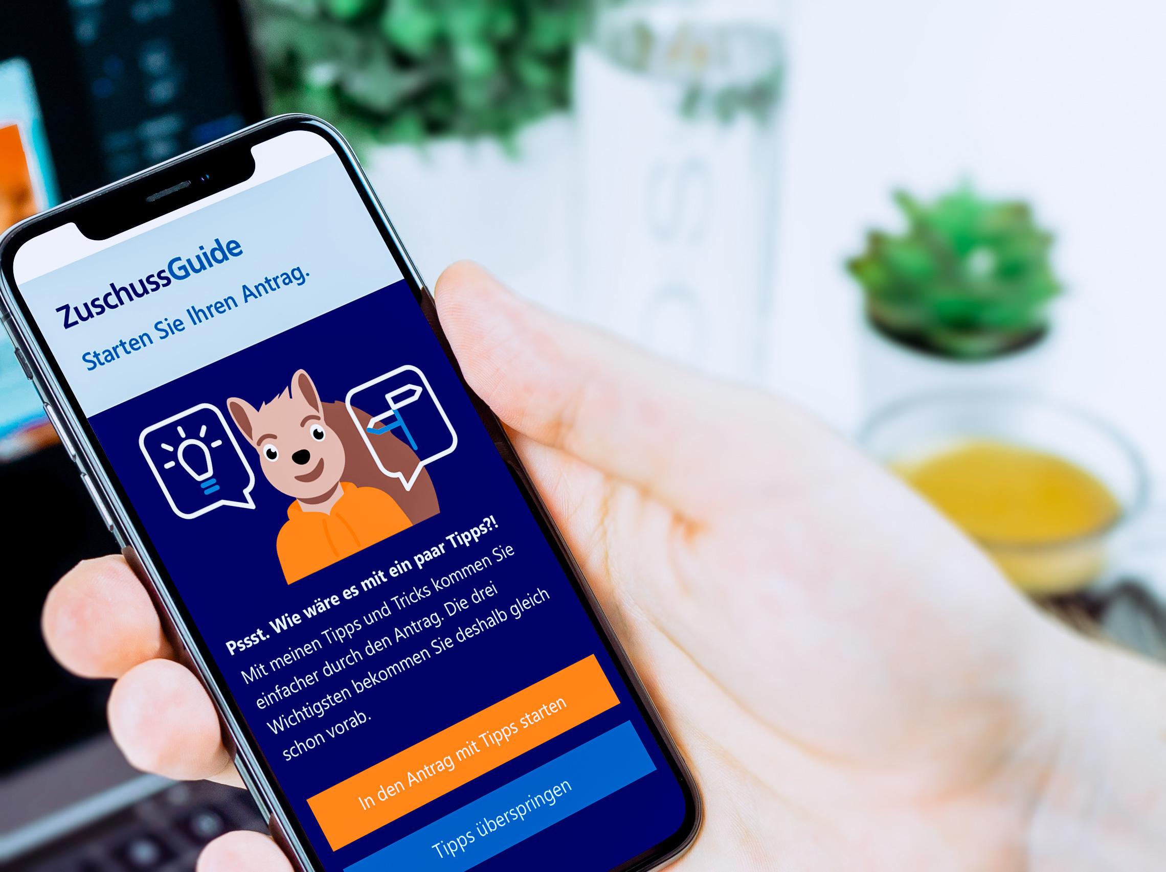 ZuschussGuide-App auf einem Smartphone